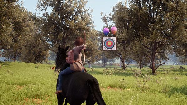 Windstorm 2: Ari's Arrival, illustrating the functionality of shooting a bow and arrow from horseback.
